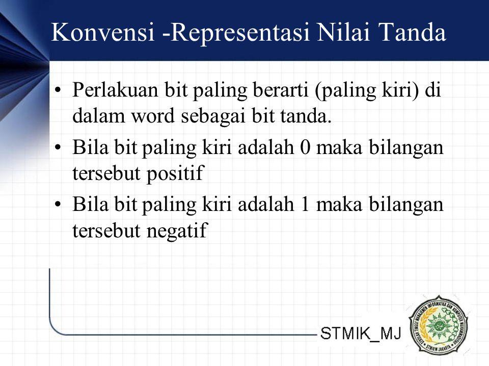 Konvensi -Representasi Nilai Tanda Perlakuan bit paling berarti (paling kiri) di dalam word sebagai bit tanda. Bila bit paling kiri adalah 0 maka bila