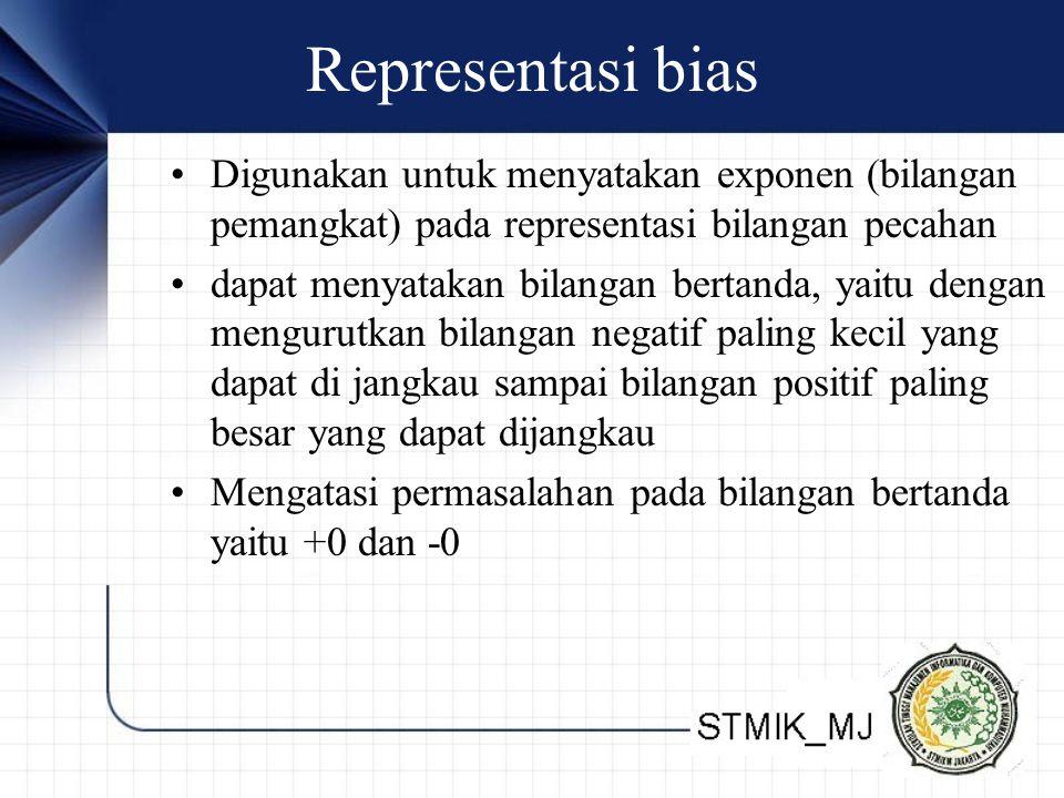 Representasi bias Digunakan untuk menyatakan exponen (bilangan pemangkat) pada representasi bilangan pecahan dapat menyatakan bilangan bertanda, yaitu