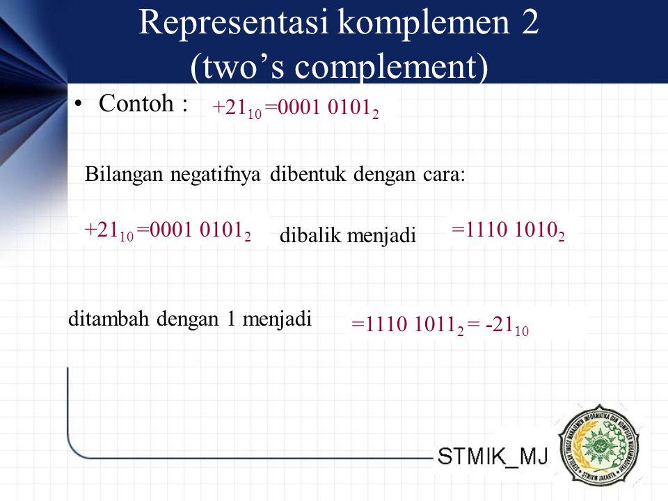 Representasi komplemen 2 (two's complement) Contoh : +21 10 =0001 0101 2 Bilangan negatifnya dibentuk dengan cara: +21 10 =0001 0101 2 dibalik menjadi