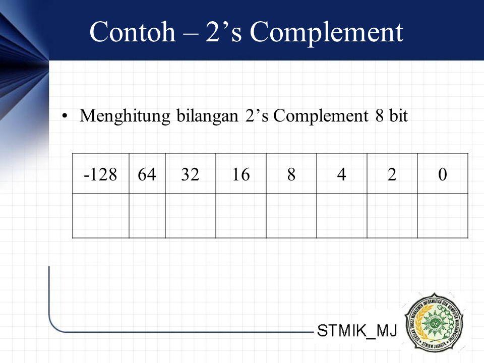 Contoh – 2's Complement Menghitung bilangan 2's Complement 8 bit -1286432168420