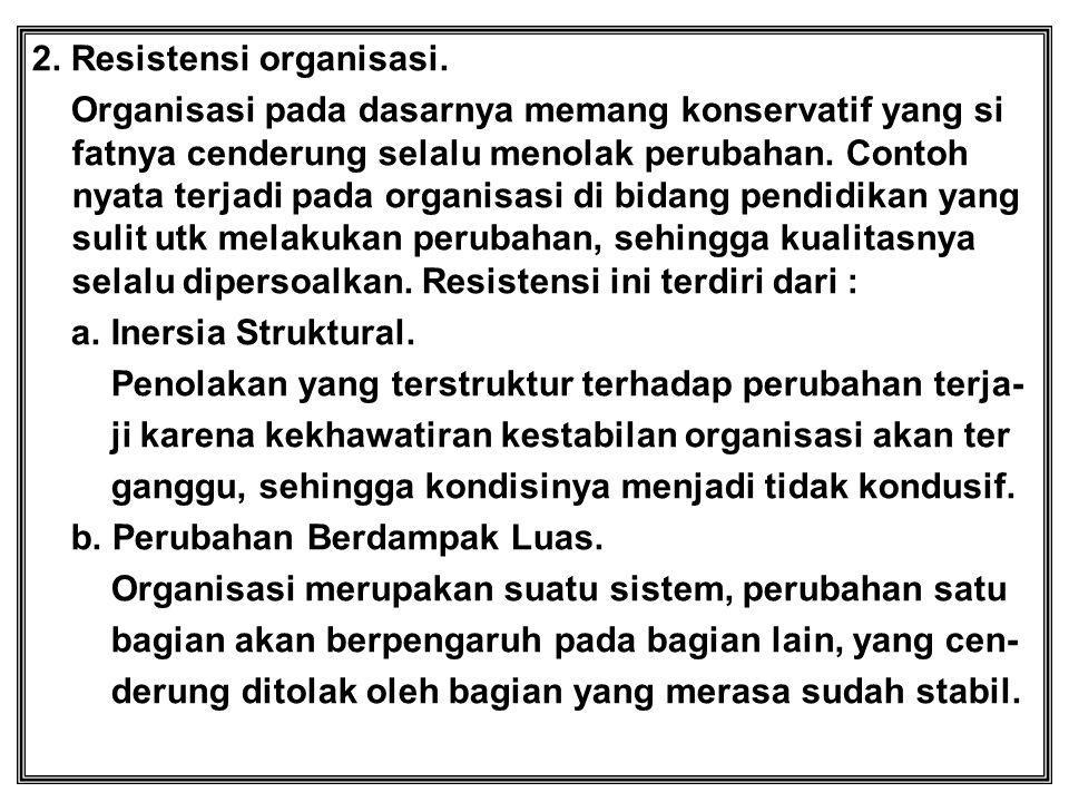 2. Resistensi organisasi. Organisasi pada dasarnya memang konservatif yang si fatnya cenderung selalu menolak perubahan. Contoh nyata terjadi pada org