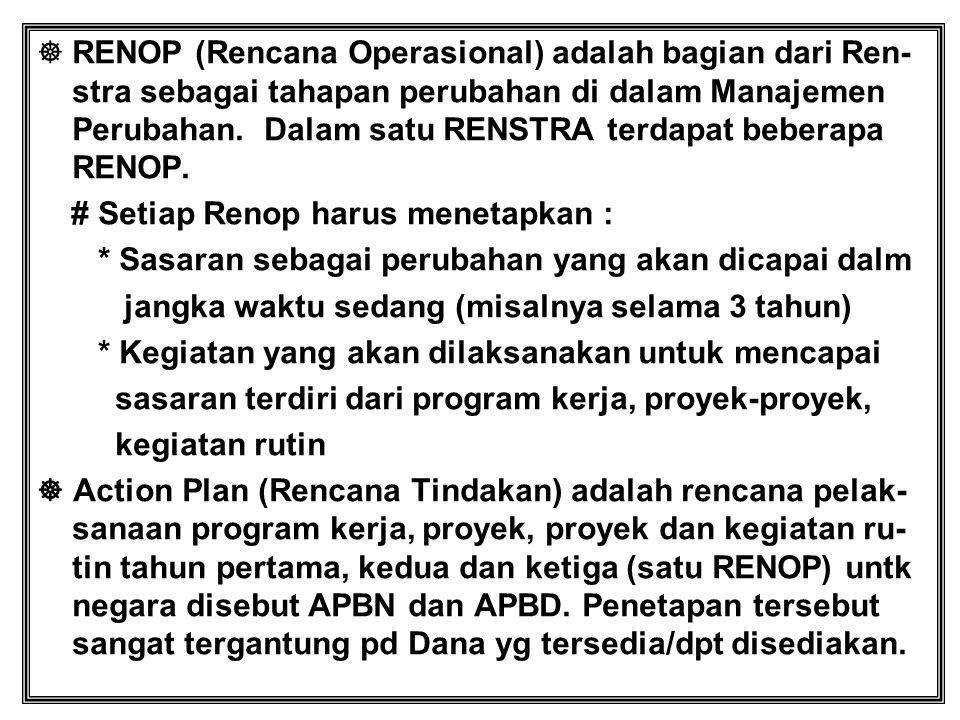  RENOP (Rencana Operasional) adalah bagian dari Ren- stra sebagai tahapan perubahan di dalam Manajemen Perubahan. Dalam satu RENSTRA terdapat beberap