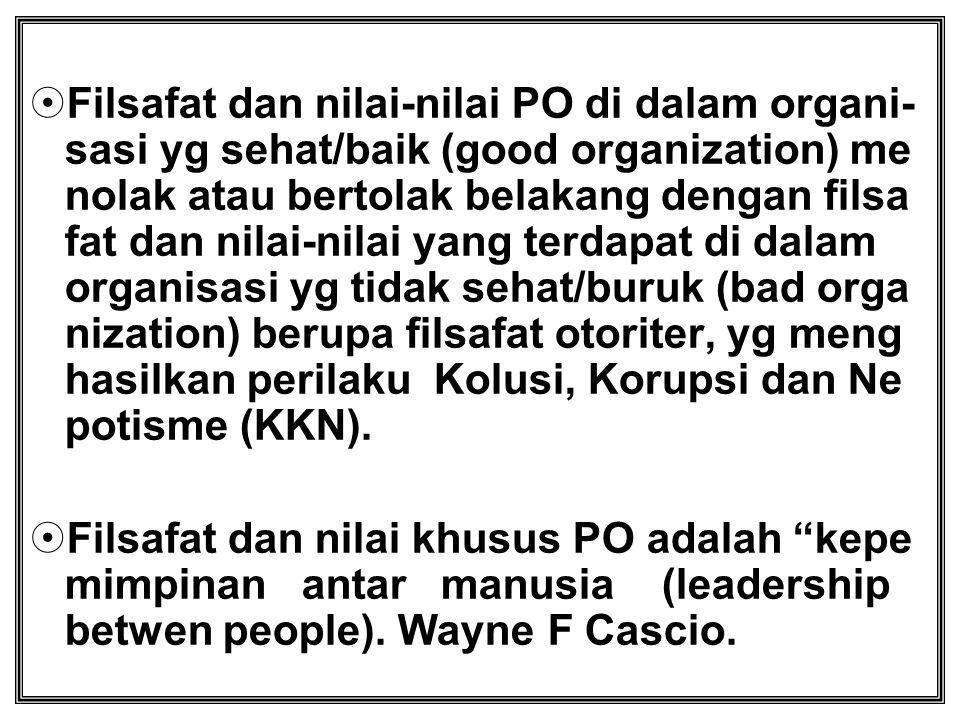  Filsafat dan nilai-nilai PO di dalam organi- sasi yg sehat/baik (good organization) me nolak atau bertolak belakang dengan filsa fat dan nilai-nilai