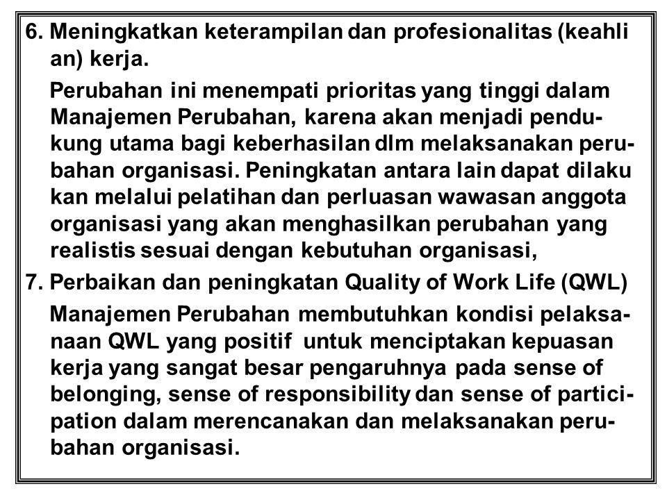6. Meningkatkan keterampilan dan profesionalitas (keahli an) kerja. Perubahan ini menempati prioritas yang tinggi dalam Manajemen Perubahan, karena ak