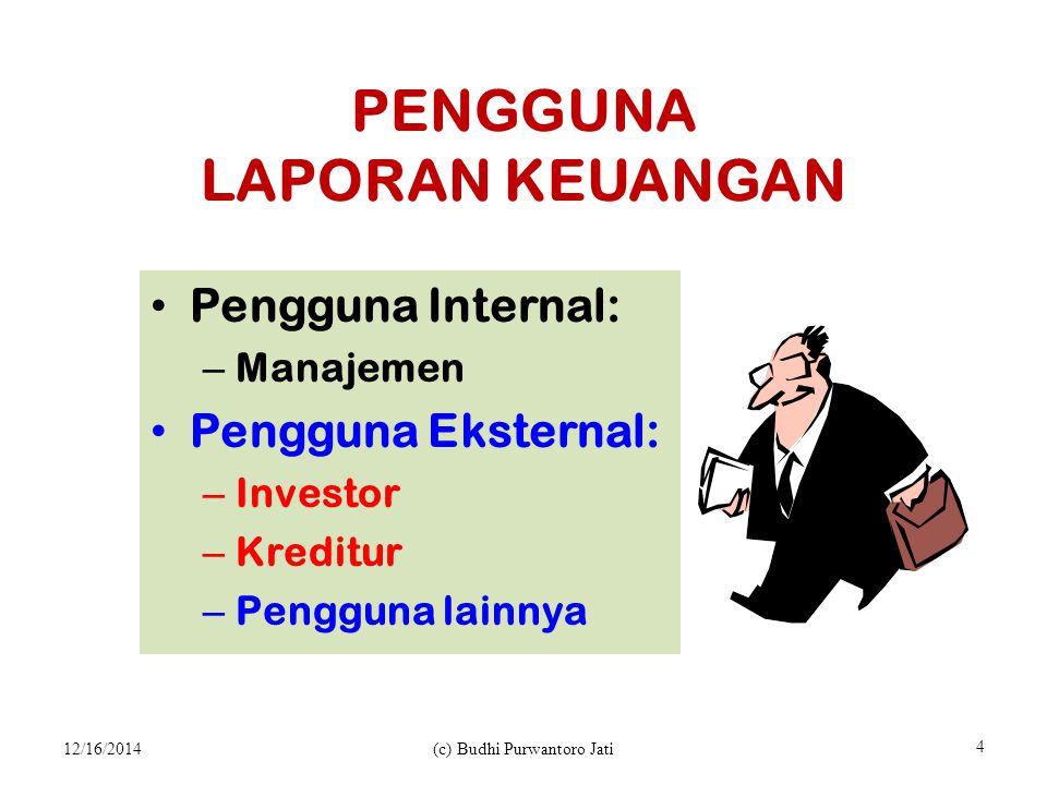 PENGGUNA LAPORAN KEUANGAN Pengguna Internal: – Manajemen Pengguna Eksternal: – Investor – Kreditur – Pengguna lainnya 12/16/2014(c) Budhi Purwantoro Jati 4