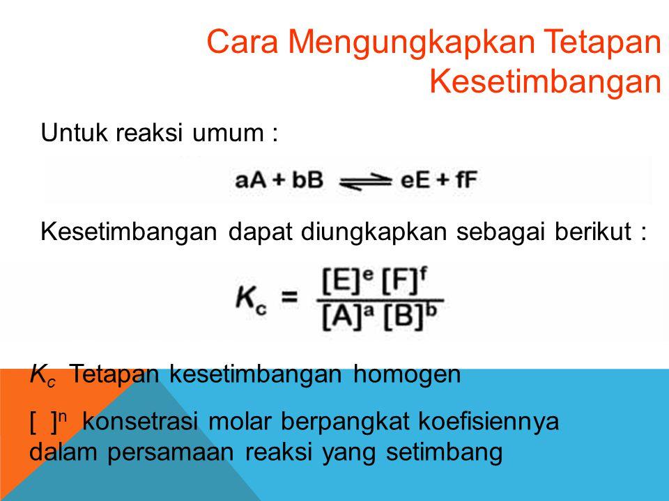 Cara Mengungkapkan Tetapan Kesetimbangan Untuk reaksi umum : Kesetimbangan dapat diungkapkan sebagai berikut : K c Tetapan kesetimbangan homogen [ ] n