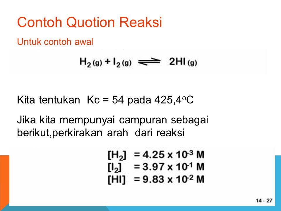 Contoh Quotion Reaksi Untuk contoh awal Kita tentukan Kc = 54 pada 425,4 o C Jika kita mempunyai campuran sebagai berikut,perkirakan arah dari reaksi