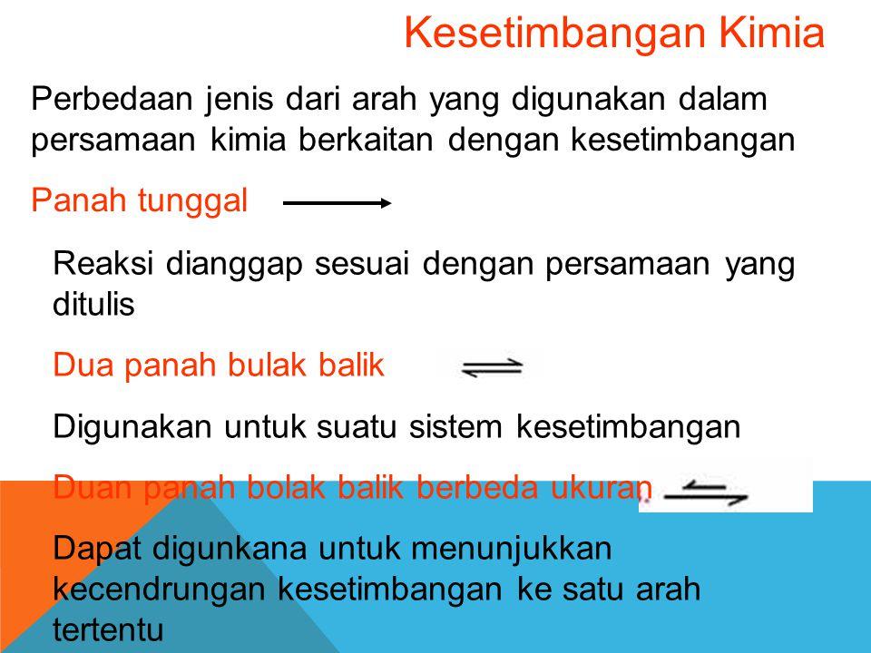 Perhitungan kesetimbangan kimia Kita dapat perkirakan arah reaksi dengan menghitung quotion reaksi Quotion reaksi, Q Q mempunyai benyak Kesamaan dengan Kc, tetapi dengan satu perbedaan penting, yaitu Q dapat digunakan untuk semua set konstrasi, sedangkan K tidak