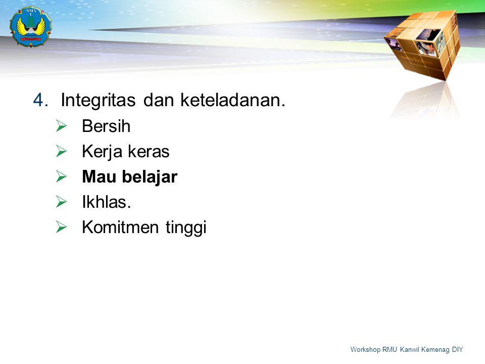 4.Integritas dan keteladanan.  Bersih  Kerja keras  Mau belajar  Ikhlas.  Komitmen tinggi Workshop RMU Kanwil Kemenag DIY