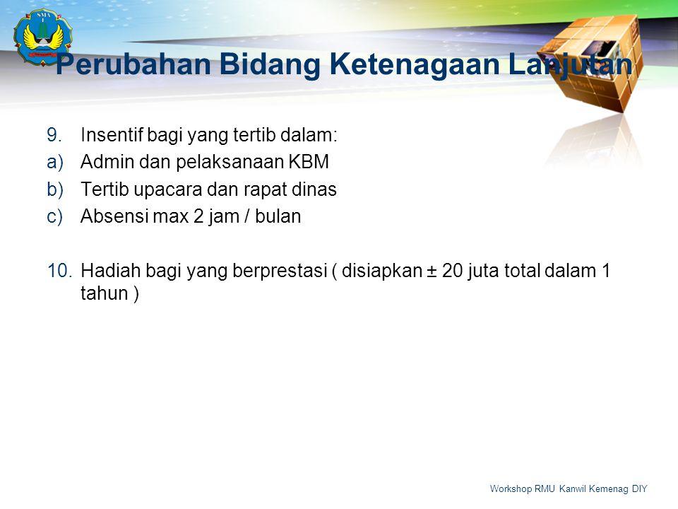 Perubahan Bidang Ketenagaan Lanjutan 9.Insentif bagi yang tertib dalam: a)Admin dan pelaksanaan KBM b)Tertib upacara dan rapat dinas c)Absensi max 2 j