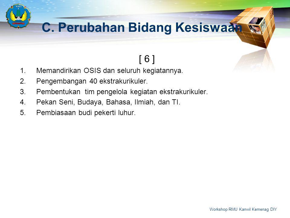 C.Perubahan Bidang Kesiswaan [ 6 ] 1.Memandirikan OSIS dan seluruh kegiatannya. 2.Pengembangan 40 ekstrakurikuler. 3.Pembentukan tim pengelola kegiata