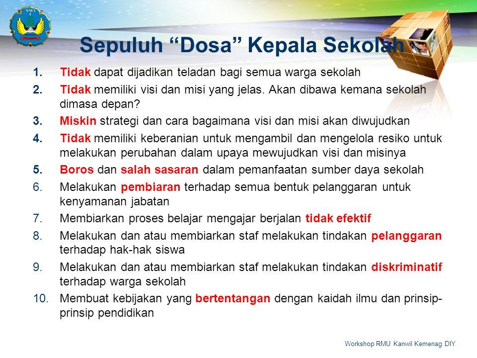 Sepuluh Dosa Kepala Sekolah 1.Tidak dapat dijadikan teladan bagi semua warga sekolah 2.Tidak memiliki visi dan misi yang jelas.