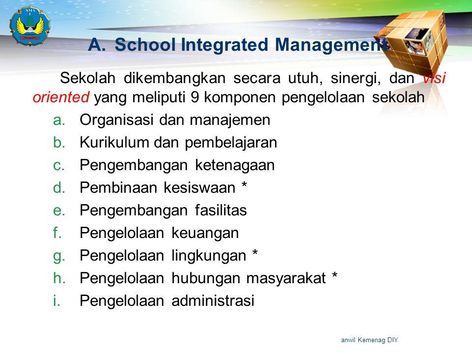 A.School Integrated Management Sekolah dikembangkan secara utuh, sinergi, dan visi oriented yang meliputi 9 komponen pengelolaan sekolah a.Organisasi dan manajemen b.Kurikulum dan pembelajaran c.Pengembangan ketenagaan d.Pembinaan kesiswaan * e.Pengembangan fasilitas f.Pengelolaan keuangan g.Pengelolaan lingkungan * h.Pengelolaan hubungan masyarakat * i.Pengelolaan administrasi anwil Kemenag DIY