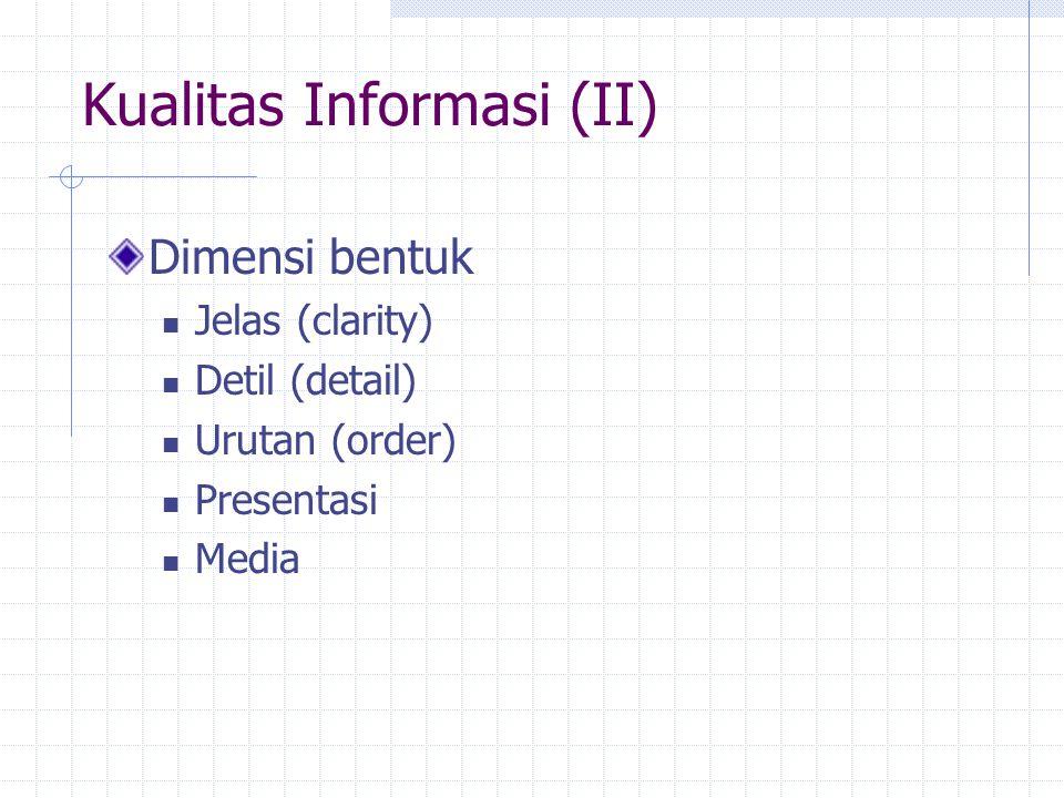Dimensi bentuk Jelas (clarity) Detil (detail) Urutan (order) Presentasi Media Kualitas Informasi (II)