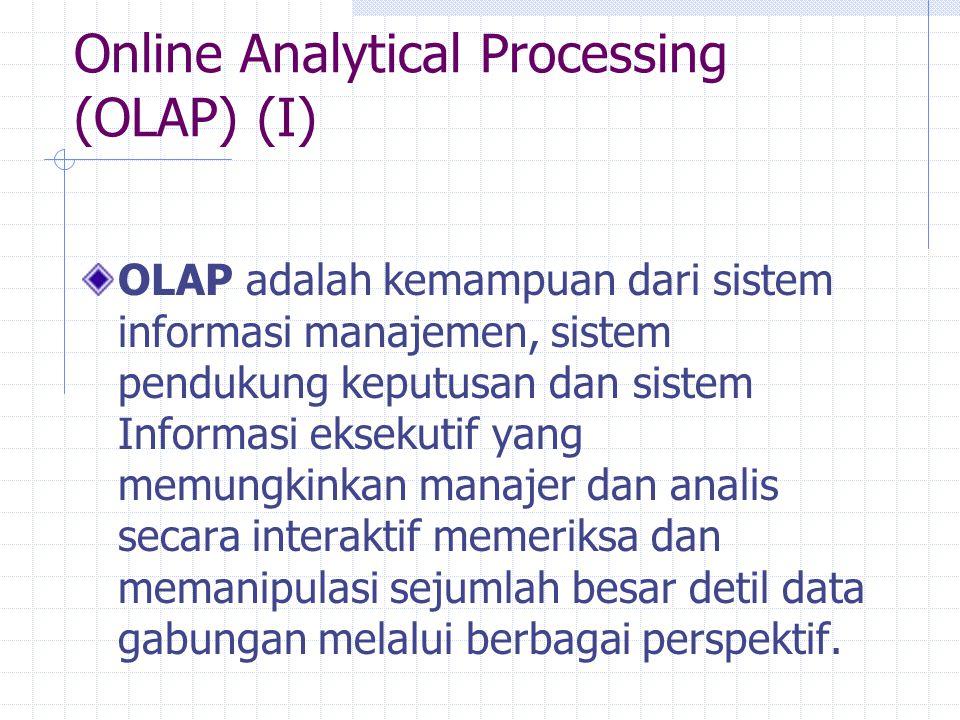 Online Analytical Processing (OLAP) (I) OLAP adalah kemampuan dari sistem informasi manajemen, sistem pendukung keputusan dan sistem Informasi eksekut