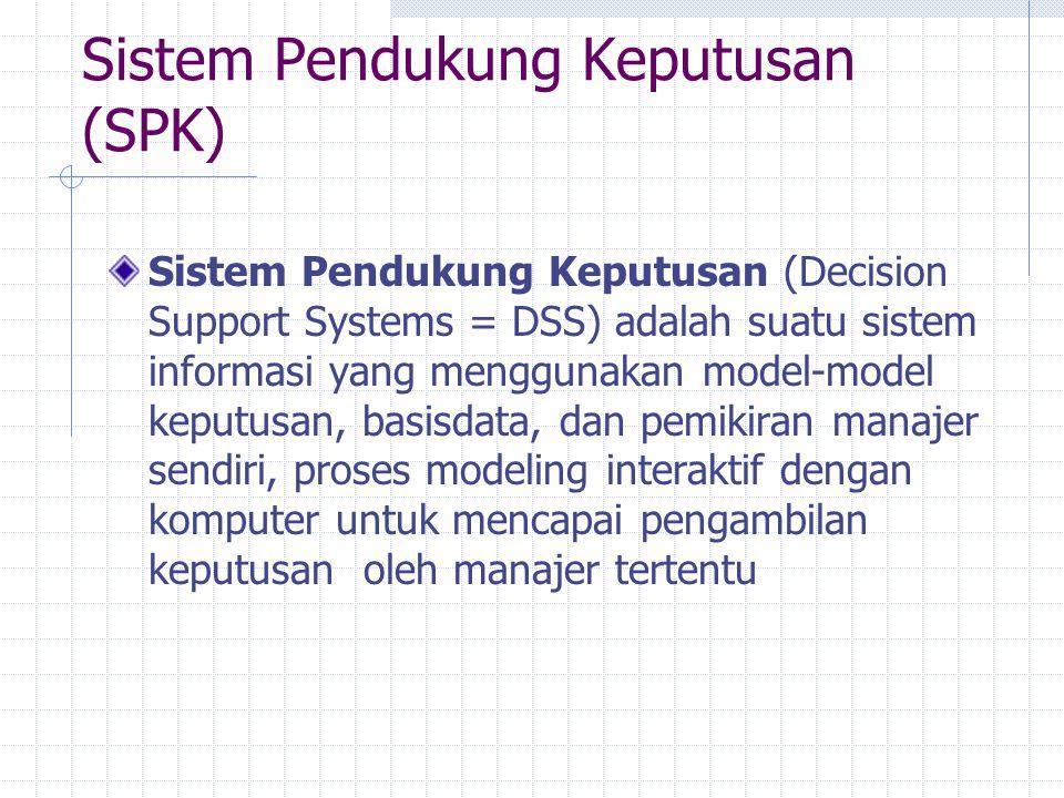 Sistem Pendukung Keputusan (SPK) Sistem Pendukung Keputusan (Decision Support Systems = DSS) adalah suatu sistem informasi yang menggunakan model-mode