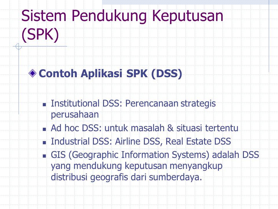 Sistem Pendukung Keputusan (SPK) Contoh Aplikasi SPK (DSS) Institutional DSS: Perencanaan strategis perusahaan Ad hoc DSS: untuk masalah & situasi ter