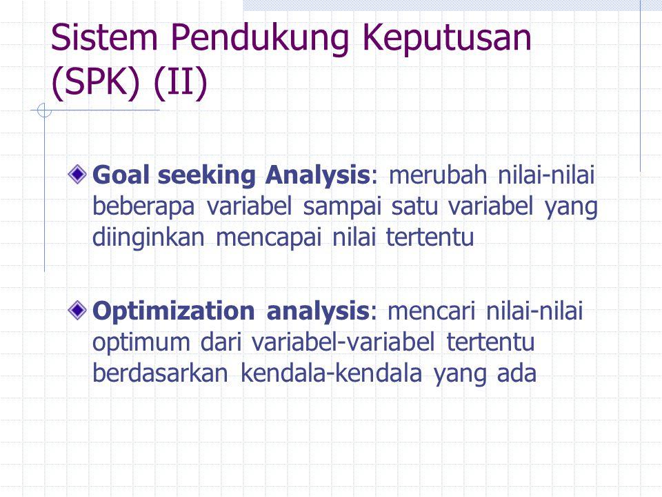 Sistem Pendukung Keputusan (SPK) (II) Goal seeking Analysis: merubah nilai-nilai beberapa variabel sampai satu variabel yang diinginkan mencapai nilai