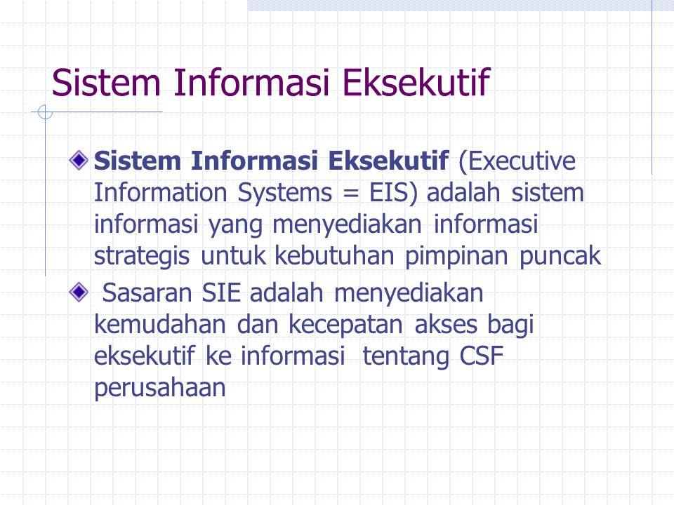 Sistem Informasi Eksekutif Sistem Informasi Eksekutif (Executive Information Systems = EIS) adalah sistem informasi yang menyediakan informasi strateg