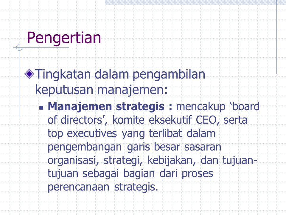 Pengertian Tingkatan dalam pengambilan keputusan manajemen: Manajemen strategis : mencakup 'board of directors', komite eksekutif CEO, serta top execu