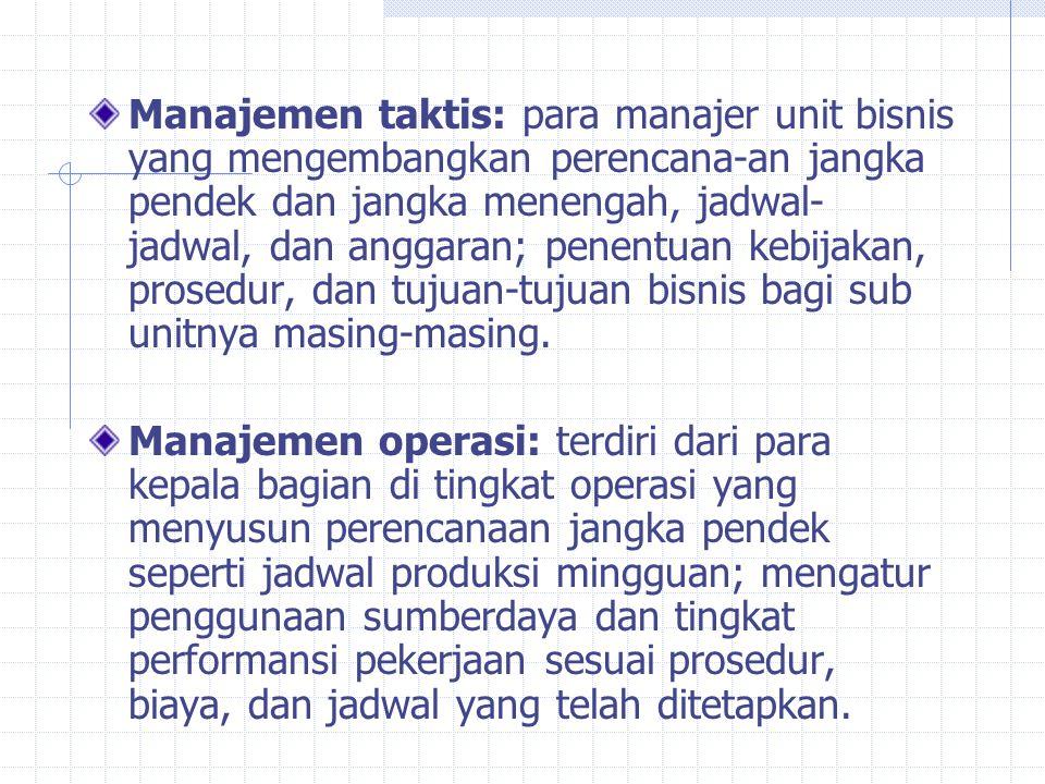 Manajemen taktis: para manajer unit bisnis yang mengembangkan perencana-an jangka pendek dan jangka menengah, jadwal- jadwal, dan anggaran; penentuan