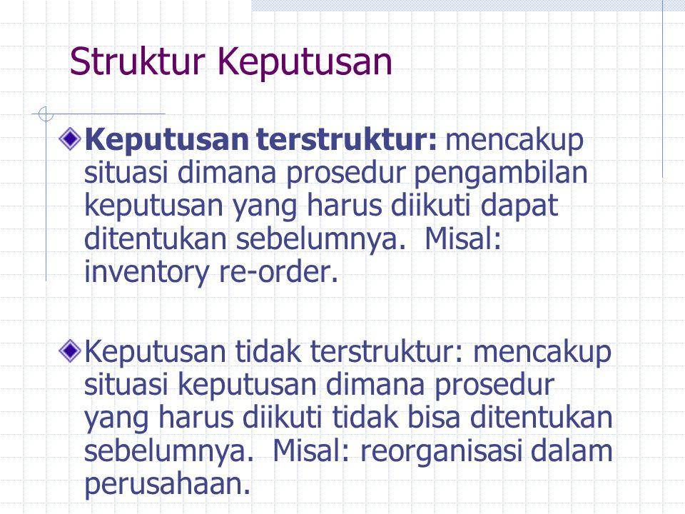 Struktur Keputusan Keputusan terstruktur: mencakup situasi dimana prosedur pengambilan keputusan yang harus diikuti dapat ditentukan sebelumnya. Misal