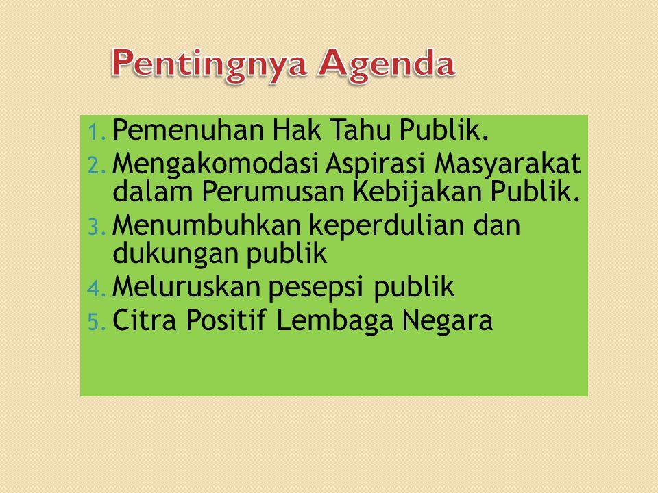 1. Pemenuhan Hak Tahu Publik. 2. Mengakomodasi Aspirasi Masyarakat dalam Perumusan Kebijakan Publik. 3. Menumbuhkan keperdulian dan dukungan publik 4.