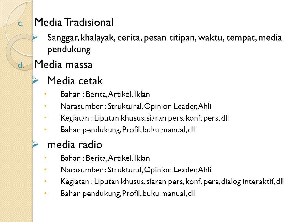 c. Media Tradisional  Sanggar, khalayak, cerita, pesan titipan, waktu, tempat, media pendukung d. Media massa  Media cetak  Bahan : Berita, Artikel