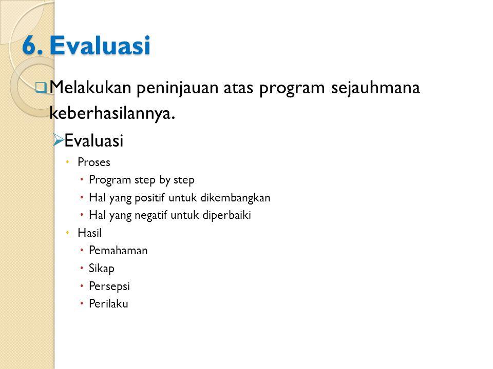 6. Evaluasi  Melakukan peninjauan atas program sejauhmana keberhasilannya.  Evaluasi  Proses  Program step by step  Hal yang positif untuk dikemb