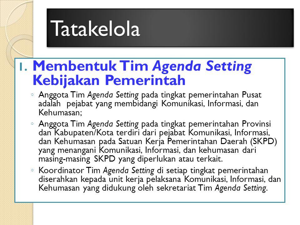 TatakelolaTatakelola 1. Membentuk Tim Agenda Setting Kebijakan Pemerintah ◦ Anggota Tim Agenda Setting pada tingkat pemerintahan Pusat adalah pejabat