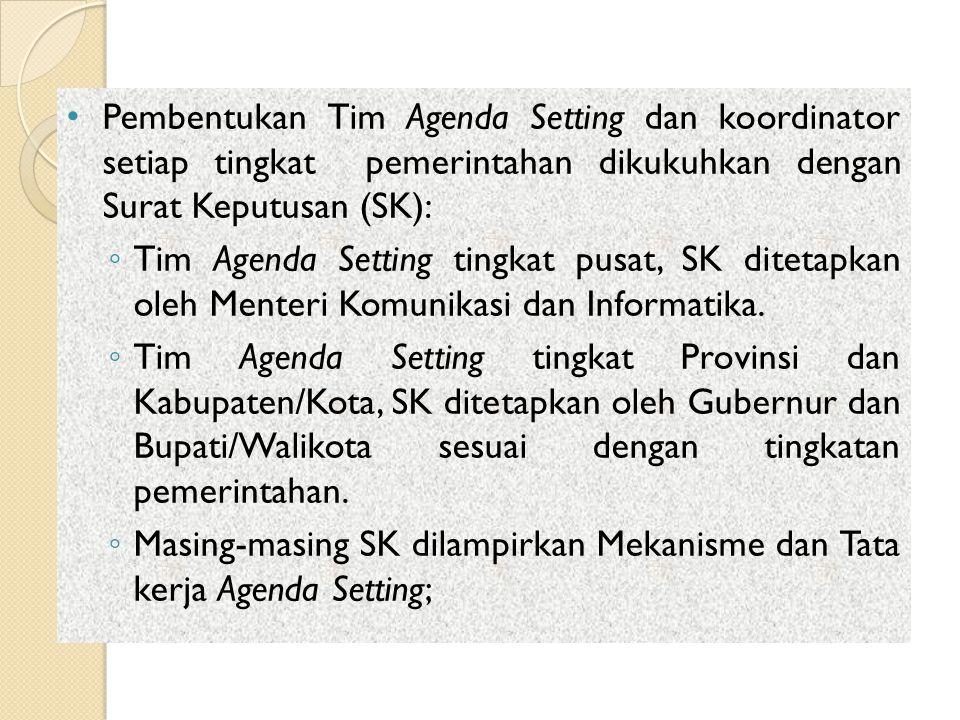 Pembentukan Tim Agenda Setting dan koordinator setiap tingkat pemerintahan dikukuhkan dengan Surat Keputusan (SK): ◦ Tim Agenda Setting tingkat pusat,