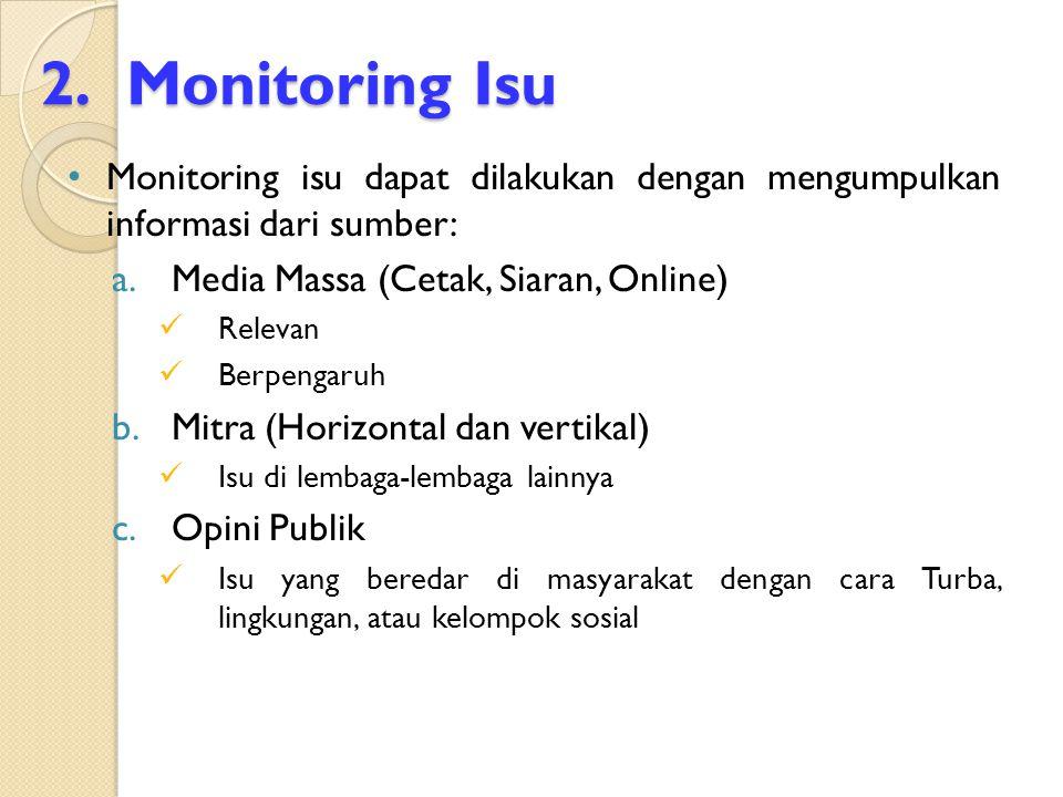 2.Monitoring Isu Monitoring isu dapat dilakukan dengan mengumpulkan informasi dari sumber: a.Media Massa (Cetak, Siaran, Online) Relevan Berpengaruh b