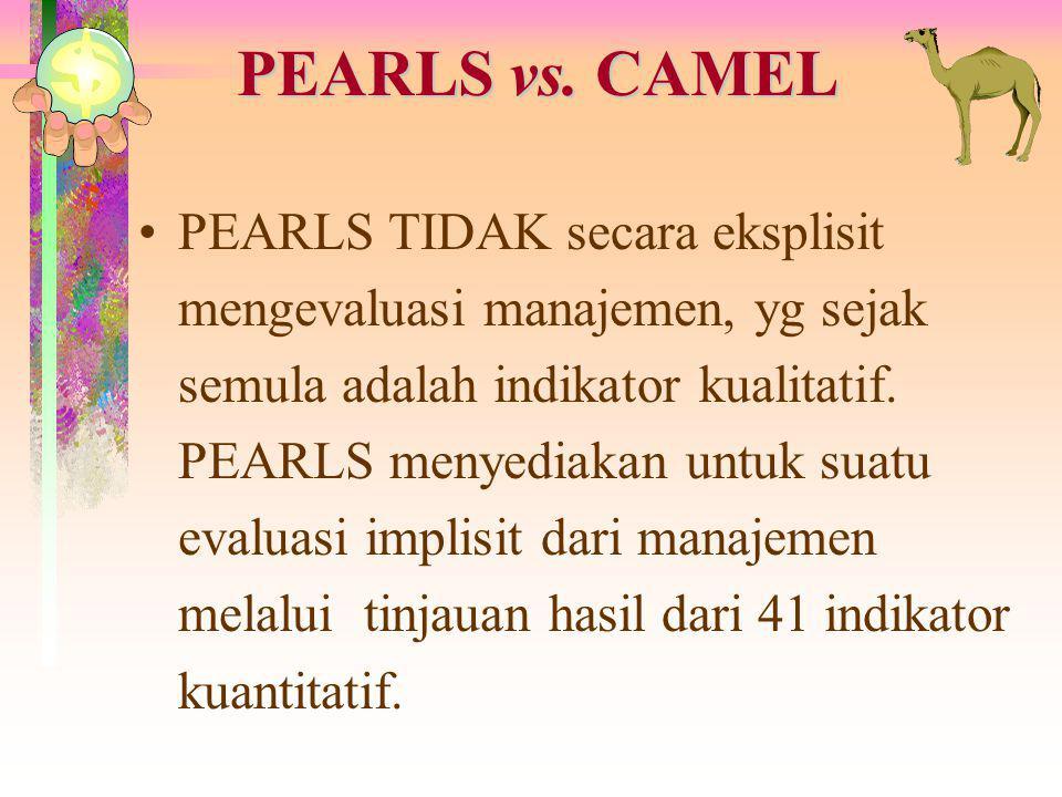 PEARLS vs. CAMEL CAMEL adalah alat pengawasan. Memiliki fokus utama pada penyelamatan dan tidak menganalisa semua area kunci manajemen Kopdit. PEARLS