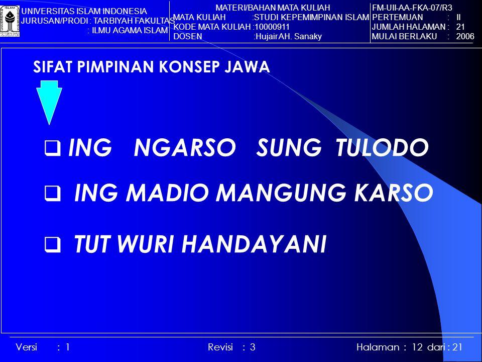 Versi : 1 Revisi : 3 Halaman : 12 dari : 21 SIFAT PIMPINAN KONSEP JAWA  ING NGARSO SUNG TULODO  ING MADIO MANGUNG KARSO  TUT WURI HANDAYANI FM-UII-AA-FKA-07/R3 PERTEMUAN : II JUMLAH HALAMAN : 21 MULAI BERLAKU : 2006 MATERI/BAHAN MATA KULIAH MATA KULIAH :STUDI KEPEMIMPINAN ISLAM KODE MATA KULIAH :10000911 DOSEN :Hujair AH.