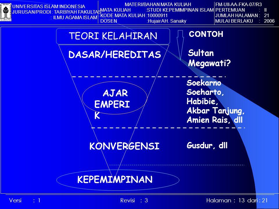 Versi : 1 Revisi : 3 Halaman : 13 dari : 21 TEORI KELAHIRAN DASAR/HEREDITAS CONTOH Sultan Megawati.