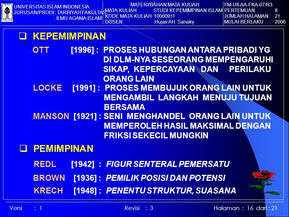 Versi : 1 Revisi : 3 Halaman : 16 dari : 21  KEPEMIMPINAN OTT [1996] : PROSES HUBUNGAN ANTARA PRIBADI YG DI DLM-NYA SESEORANG MEMPENGARUHI SIKAP, KEPERCAYAAN DAN PERILAKU ORANG LAIN LOCKE [1991] : PROSES MEMBUJUK ORANG LAIN UNTUK MENGAMBIL LANGKAH MENUJU TUJUAN BERSAMA MANSON [1921] : SENI MENGHANDEL ORANG LAIN UNTUK MEMPEROLEH HASIL MAKSIMAL DENGAN FRIKSI SEKECIL MUNGKIN  PEMIMPINAN REDL [1942] : FIGUR SENTERAL PEMERSATU BROWN [1936] : PEMILIK POSISI DAN POTENSI KRECH [1948] : PENENTU STRUKTUR, SUASANA FM-UII-AA-FKA-07/R3 PERTEMUAN : II JUMLAH HALAMAN : 21 MULAI BERLAKU : 2006 MATERI/BAHAN MATA KULIAH MATA KULIAH :STUDI KEPEMIMPINAN ISLAM KODE MATA KULIAH :10000911 DOSEN :Hujair AH.