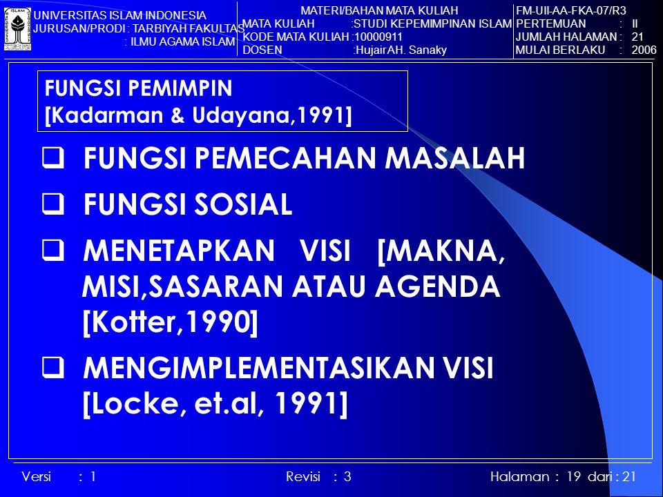 Versi : 1 Revisi : 3 Halaman : 19 dari : 21 FUNGSI PEMIMPIN [Kadarman & Udayana,1991]  FUNGSI PEMECAHAN MASALAH  FUNGSI SOSIAL  MENETAPKAN VISI [MAKNA, MISI,SASARAN ATAU AGENDA [Kotter,1990]  MENGIMPLEMENTASIKAN VISI [Locke, et.al, 1991] FM-UII-AA-FKA-07/R3 PERTEMUAN : II JUMLAH HALAMAN : 21 MULAI BERLAKU : 2006 MATERI/BAHAN MATA KULIAH MATA KULIAH :STUDI KEPEMIMPINAN ISLAM KODE MATA KULIAH :10000911 DOSEN :Hujair AH.