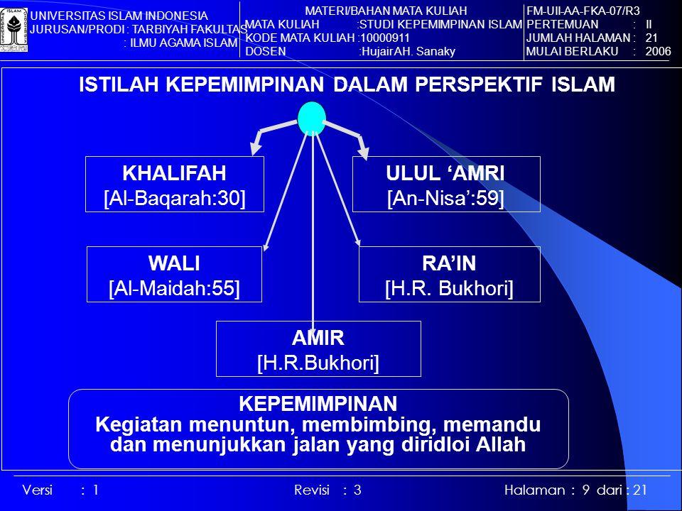 Versi : 1 Revisi : 3 Halaman : 9 dari : 21 ISTILAH KEPEMIMPINAN DALAM PERSPEKTIF ISLAM KHALIFAH [Al-Baqarah:30] ULUL 'AMRI [An-Nisa':59] WALI [Al-Maidah:55] RA'IN [H.R.