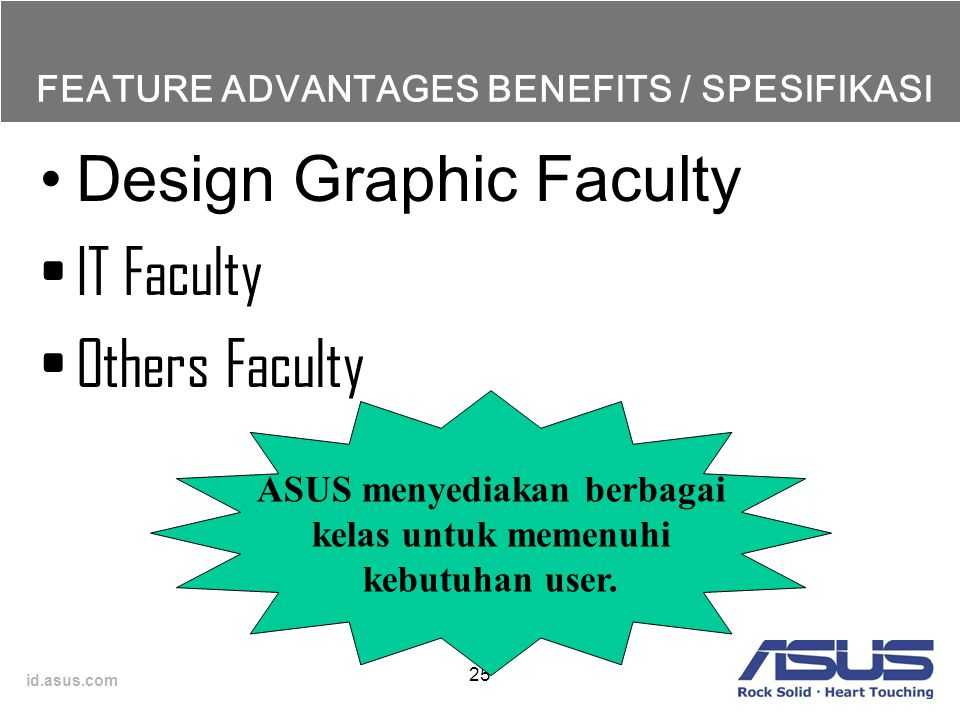 id.asus.com FEATURE ADVANTAGES BENEFITS / SPESIFIKASI Design Graphic Faculty IT Faculty Others Faculty 25 ASUS menyediakan berbagai kelas untuk memenu