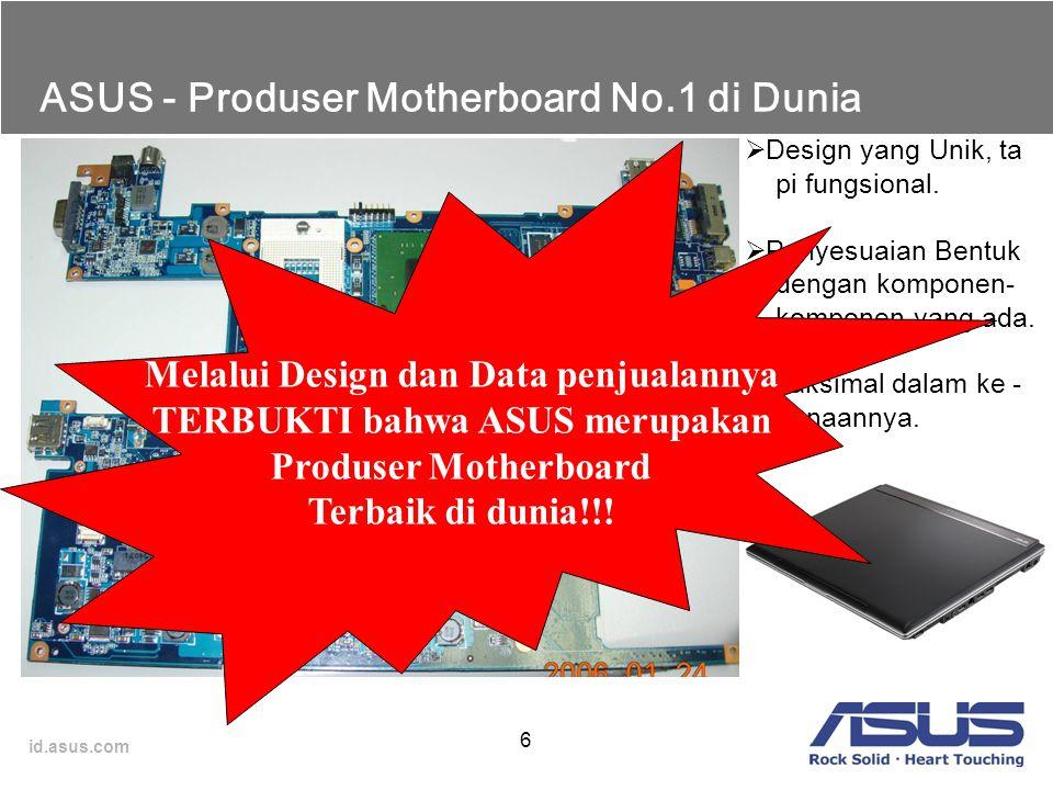 id.asus.com 6 ASUS - Produser Motherboard No.1 di Dunia  Design yang Unik, ta pi fungsional.  Penyesuaian Bentuk dengan komponen- komponen yang ada.