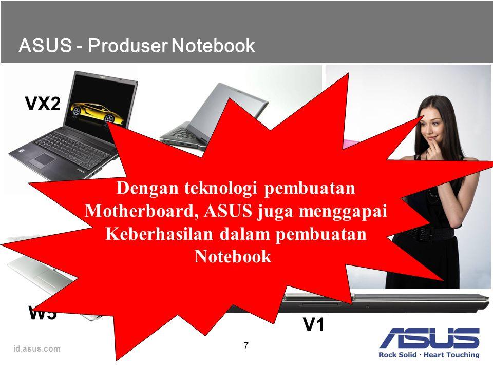 id.asus.com 7 ASUS - Produser Notebook VX2 W5 R1 U5 V1 S6 Dengan teknologi pembuatan Motherboard, ASUS juga menggapai Keberhasilan dalam pembuatan Not