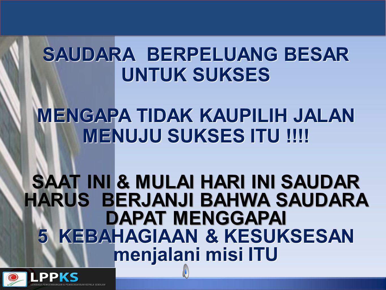 SAUDARA BERPELUANG BESAR UNTUK SUKSES MENGAPA TIDAK KAUPILIH JALAN MENUJU SUKSES ITU !!!! SAAT INI & MULAI HARI INI SAUDAR HARUS BERJANJI BAHWA SAUDAR