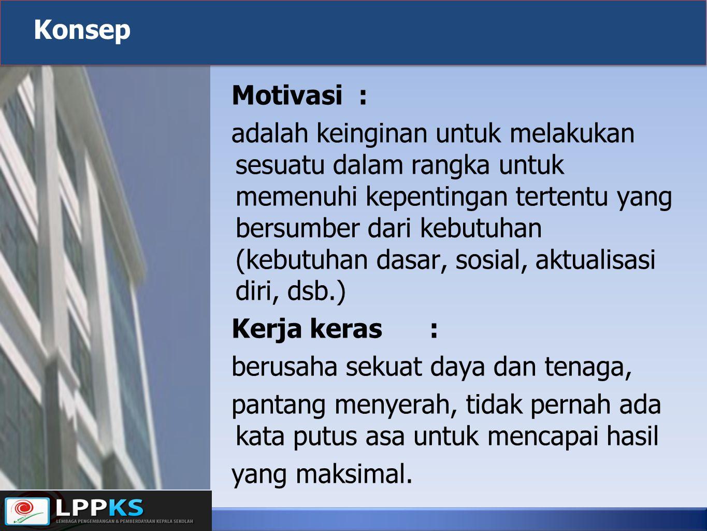 Motivasi: adalah keinginan untuk melakukan sesuatu dalam rangka untuk memenuhi kepentingan tertentu yang bersumber dari kebutuhan (kebutuhan dasar, so