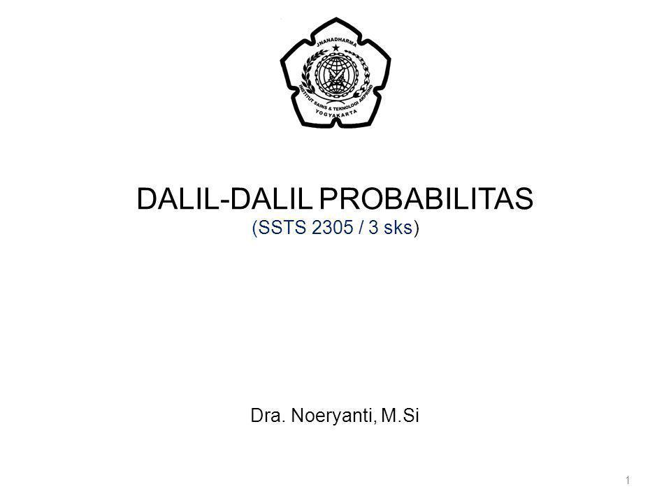 DALIL-DALIL PROBABILITAS (SSTS 2305 / 3 sks) 1 Dra. Noeryanti, M.Si