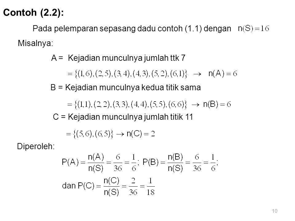 Contoh (2.2): Pada pelemparan sepasang dadu contoh (1.1) dengan Misalnya: A = Kejadian munculnya jumlah ttk 7 B = Kejadian munculnya kedua titik sama