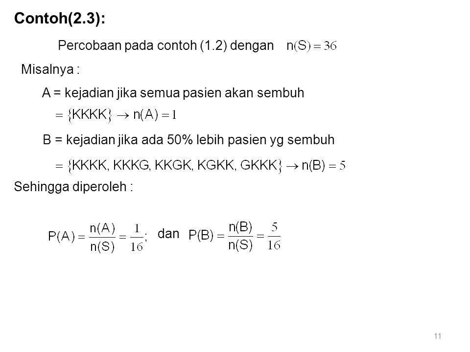 Contoh(2.3): Percobaan pada contoh (1.2) dengan Misalnya : A = kejadian jika semua pasien akan sembuh B = kejadian jika ada 50% lebih pasien yg sembuh