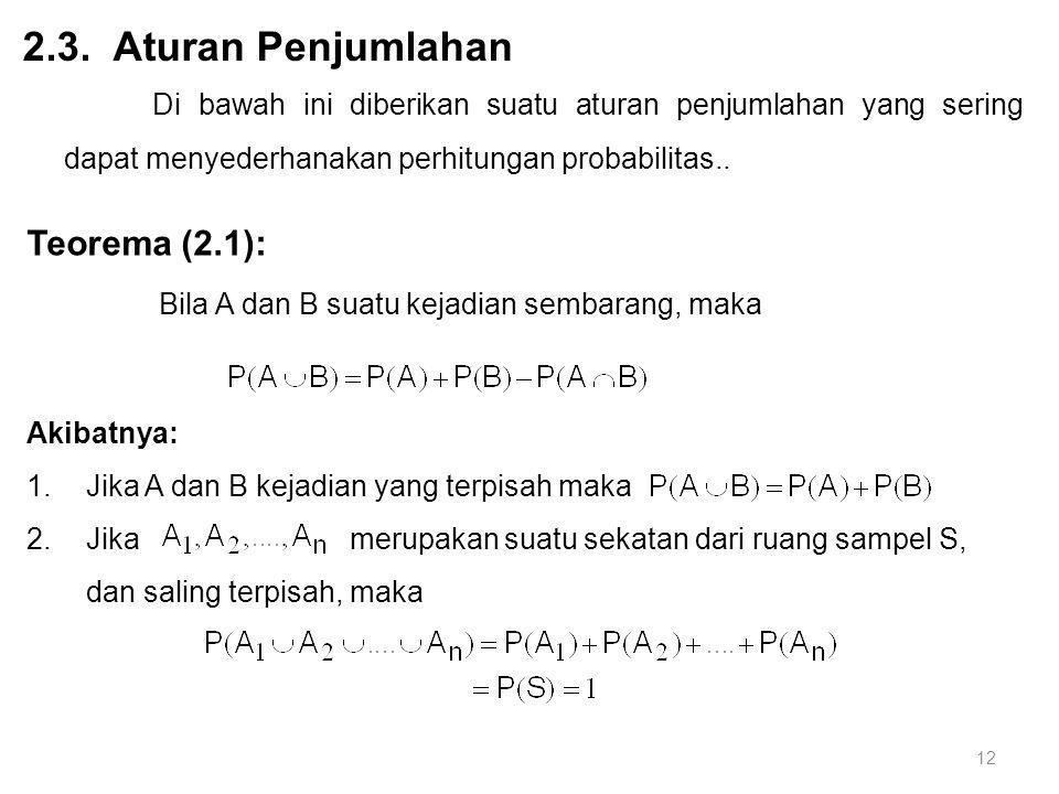 12 2.3. Aturan Penjumlahan Di bawah ini diberikan suatu aturan penjumlahan yang sering dapat menyederhanakan perhitungan probabilitas.. Teorema (2.1):