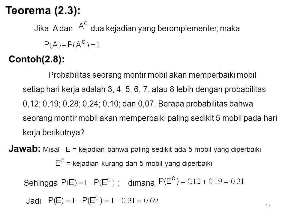 17 Contoh(2.8): Probabilitas seorang montir mobil akan memperbaiki mobil setiap hari kerja adalah 3, 4, 5, 6, 7, atau 8 lebih dengan probabilitas 0,12