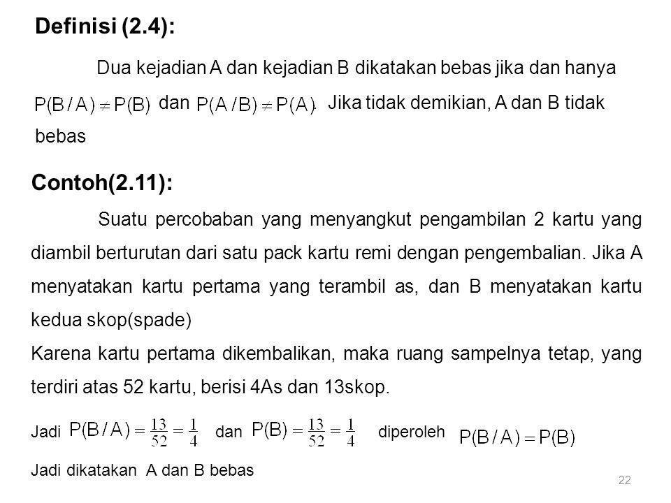 22 Definisi (2.4): Dua kejadian A dan kejadian B dikatakan bebas jika dan hanya dan. Jika tidak demikian, A dan B tidak bebas Contoh(2.11): Suatu perc