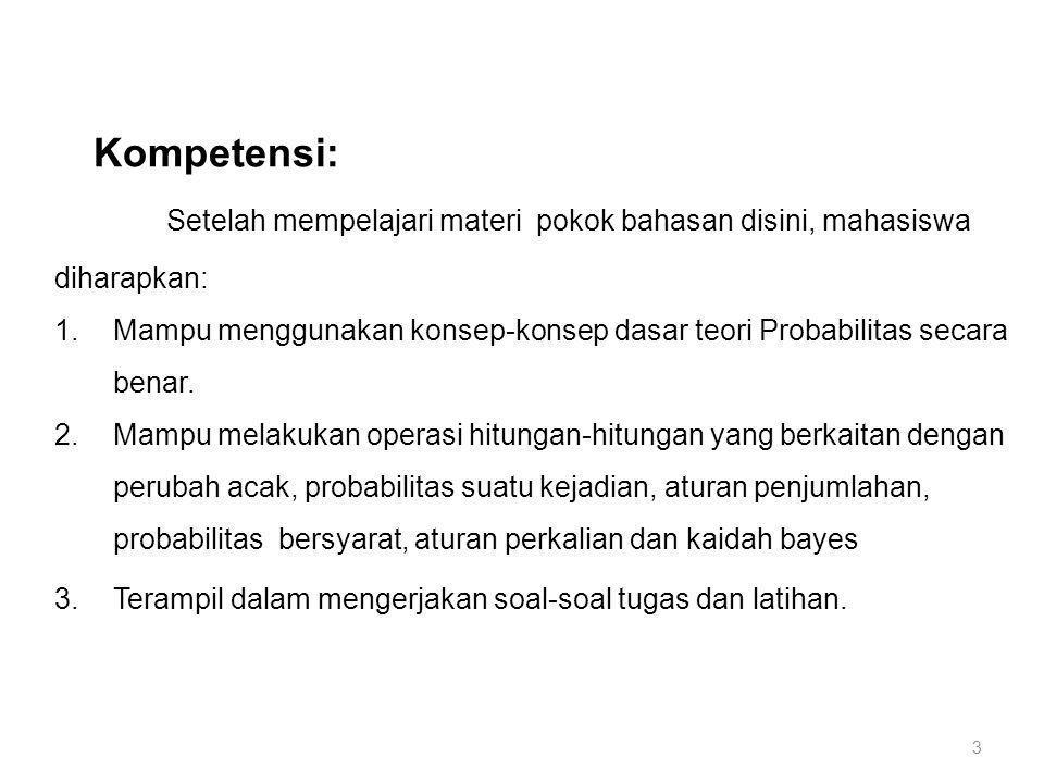 3 Kompetensi: Setelah mempelajari materi pokok bahasan disini, mahasiswa diharapkan: 1.Mampu menggunakan konsep-konsep dasar teori Probabilitas secara